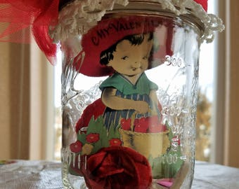 Valentine in a Jar, All Vintage Items in a Decorated Glass Ball Jar