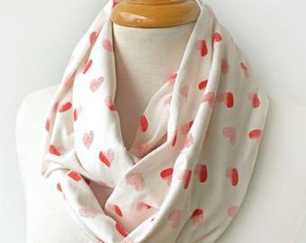 Red and White Infinity Scarf - Loop scarf - Cotton Knit Scarves - Red Hearts