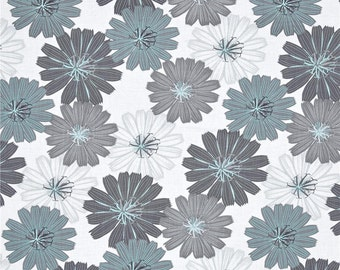 Flower Fabric, Fabric by the Yard, Quilting Fabric, Fat Quarter, Black Fabric, Teal Fabric, Gray Fabric, Packed Dahlias White Fabric