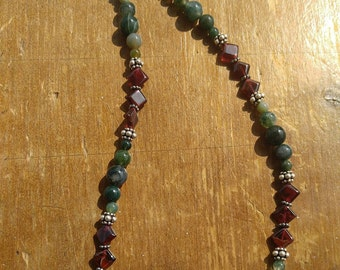 Moss Agate and Garnet Necklace with Sterling Silver Bali Beads