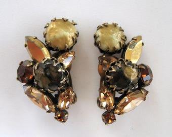 Vintage Regency Bronze Art Glass Rhinestone Earrings