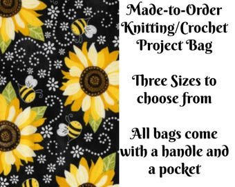 Sunflower and Bee, Knitting Project Bag, Large Project Bag, Drawstring, Zippered, Sock Sack, Yarn Tote, Sock Project