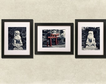 Zen: Chinese Lion, garden, red, statue, peace,summer, black and white, moody, peaceful home decor, tranquility, tranquil print set