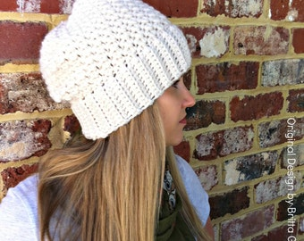 Ribbsta Slouchy Beanie Pattern for chunky yarn - Crochet Hat Pattern No.230 Digital Download English
