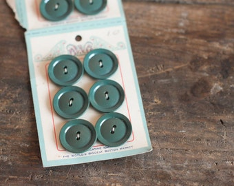 12 Vintage Spruce Green Plastic Buttons on Card - Weber Button Company