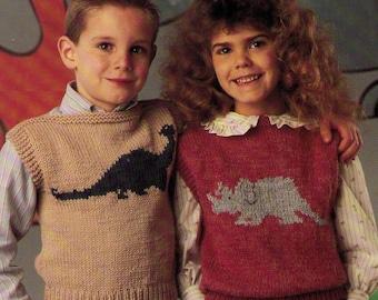 PDF Knitting Pattern Dinosaurs Children Sweater Vest Kids Ages 4, 6, 8, 10, 12 & 14