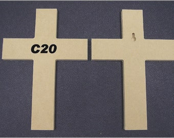 """5 6"""" x 9"""" Unfinished Wooden Crosses, Choose from 8 different styles, Ready to Paint, w/key holes. 4-13B A"""