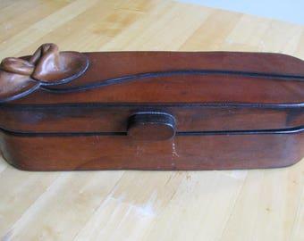 Vintage Wooden Box, Wood Flower Decorated Top, Hinged Lid, Wood Storage Box Dresser Box