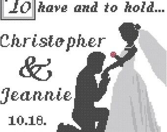 Bride and Groom Cross Stitch Pattern, Wedding Cross Stitch Pattern, Cross Stitch Wedding Pattern, On Bended Knee Cross Stitch Pattern