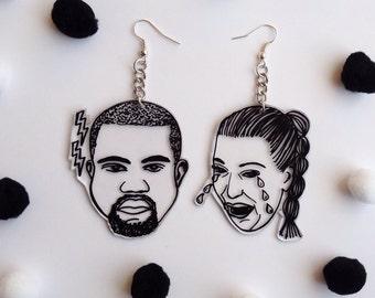 Hand illustrated Kimye Earrings