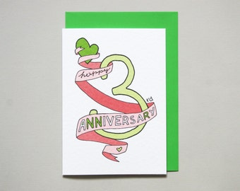3rd anniversary card * anniversary card * friends anniversary * wedding anniversary * wife husband * size A6 comes with green envelope