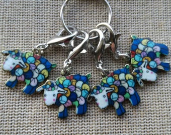 Stitch Markers for Crochet, Sheep Stitch Markers, Progress Keepers, Set of 4 Colourful Enamel Sheep, Crochet Notions, Knitting Notions, Gift