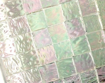 """100 1/4"""" IRIDIZED """"ICE"""" Mosaic Tiny Tiles  Textured Stained Glass i-1"""