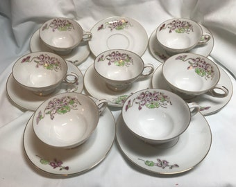 Vintage set of  Lucky China  demitasse cups and saucers