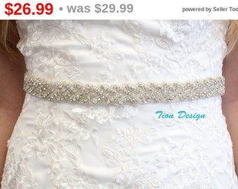 Memorial Sale Crystal Bridal Sash | Rhinestone Sash | Wedding Sash SB-01