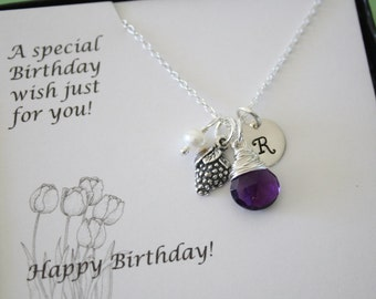 Initial Grape Charm Necklace, Sterling Silver, Gemstone necklace, Initial jewelry, Purple Stone, Happy Birthday Card