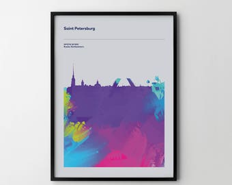 ST PETERSBURG City Skyline Cityscape Art Print Poster Places Abstract