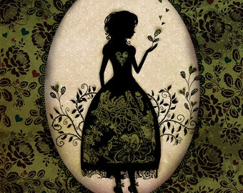 """Open Edition Print - poster - art - wall decor - illustration - silhouette - victorian - Miss Shadow - """"The Garden"""""""