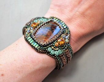 Beaded Bracelet Pietersite Crystal Cuff Beadwork Art Jewelry