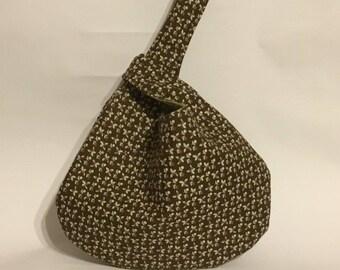 Fabric crochet bag, Japanese knot bag, grab and go bag, wristlet