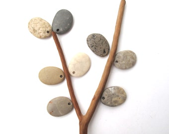 Stone Beads Pebble Beads Mediterranean Natural Beach Stone Beads Top Drilled Rock Pairs Diy Jewelry EARTHY LOT 25-26 mm