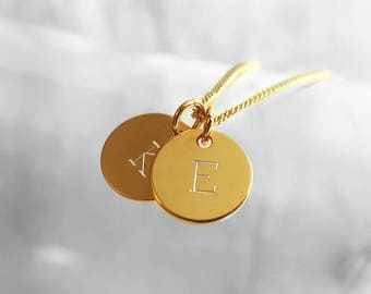 Dainty Engraved Tag Necklace, Gold Plated Charm Necklace, Two Letters Pendant Necklace, Two Initials, Gold Plated Personalized Jewelry