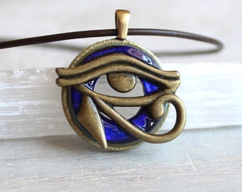 royal blue eye of horus necklace, mens jewelry, all seeing eye, mens necklace, unique gift, Egyptian god, Egyptian symbol, mens gift