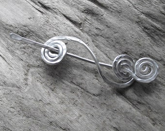 "Aluminum Shawl Pin Scarf Pin-  Double Spiral Winter Knit Scarf Pin- Wire Hammered Double Swirl Shawl Brooch-Silver Stick Pin ""Undertow"""