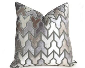 "Designer Arrow Geometric Brown Beige Taupe Gray Cream Velvet Pillow Cover,  Fits 12x18 12x24 14x20 16x26 16"" 18"" 20"" 22"" 24"" Cushion Inserts"