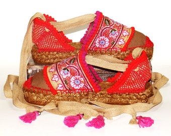 Platform espadrilles sandals with red and pink Flower embroidery   Organic cotton  Alpargatas made in Spain