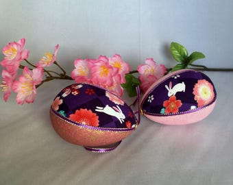 Pink Purple Easter Egg Quilted kimono fabrics Easter bunny print Japanese decor Easter tree ornament Unique housewarming Bridal shower