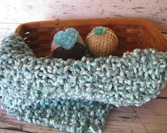 Baby Turquiose Photo Prop Layering Blanket Basket Stuffer Fluff Knit Crohet Newborn Infant