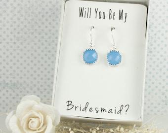 Periwinkle Silver Earrings, Periwinkle Blue Square Earrings, Bridesmaid Earrings, Blue Wedding Jewelry, Bridesmaid Gift, Wedding Accessories