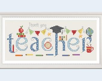 Thank you Teacher Cross Stitch Chart - Digital Format PDF Pattern