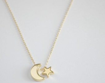 Moon and star necklace, Moon and star charm  necklace,  bridesmaid gift, gift necklace, G8
