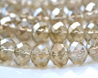 Champagne Luster 9mm Faceted Crystal Rondelle Beads    10