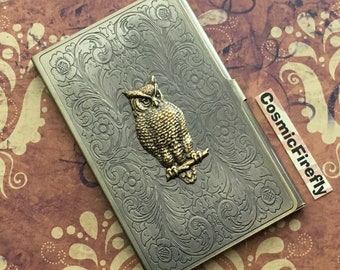 Brass Owl Business Card Case Antiqued Brass Card Case Vintage Inspired Victorian Steampunk Card Case Vintage Inspired