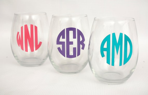 SALE! Personalized Monogrammed Stemless Wine Glass- great wedding, bridal shower, or birthday gift!