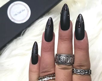 READY TO SHIP| Matte Black Dripping Blood Press On Nails | Fake Nails | Matte Black Nails| Blood Nails| Goth Nails |