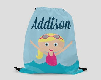 Swimming Drawstring Backpack for Girls - Girl with Goggles - You Choose Hair and Skin Color - Personalized Bag - Beach Bag - Pool Bag
