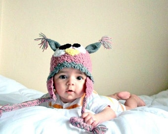 Owl Hat -Crochet Baby  Hat  - for Baby or Toddler-Baby Girl Hat