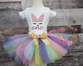 Baby Girl 1st Birthday Outfit, Easter Birthday Outfit, first birthday girl outfit, Girl Easter Outfit, Pastel Tutu, Bunny Easter Shirt