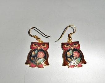 Vintage Cloisonne Owl earrings for Pierced Ears