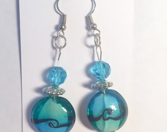 Green blue earrings