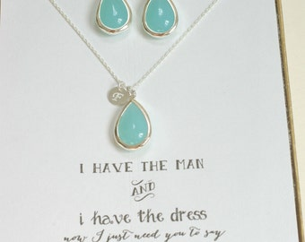 Set of 8 Sets Mint Bridesmaid Necklace and Earring Sets with initials, Bridesmaid Jewelry, Bridesmaid Set, Mint Green Jewelry, TS8