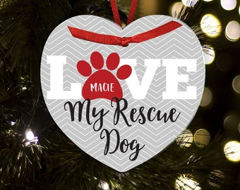 Personalized Christmas ornament love my rescue dog ORDL
