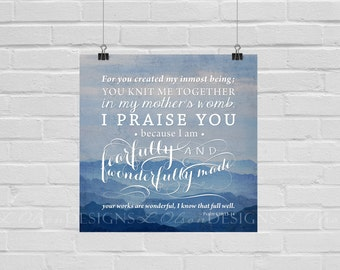 Fearfully and Wonderfully - Christian Wall Art - 8x8 - DIY Printable - INSTANT DOWNLOAD