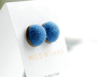 Dark Denim Blue Earrings, Stud Earrings, Felted Wool Earrings, Fibre Jewelry, Post Earrings, Weekend Earrings, Antiqued Brass Studs
