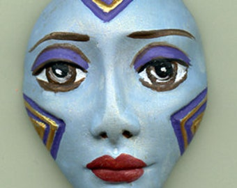 Polymer Clay One of a Kind  Spirit Doll  Blue Detailed Face Cab Un Drilled BSD 1