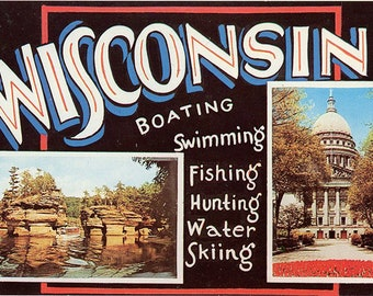 Wisconsin Large Letter Greetings Postcard 1959 (unused)